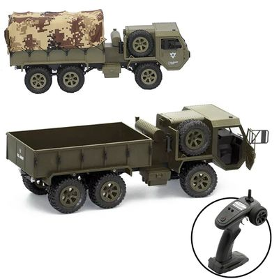 FY004A 1:16 6WD RC Car Off Road Simulation Model Toys Hobby Funny Gift Army Truck Simulation Boys 2.4G