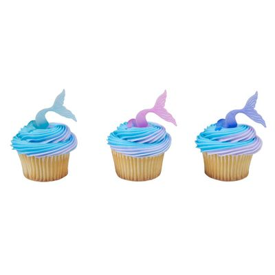 12 Mermaid Tail Wrap Cupcake Cake Ring Birthday Party Favor Toppers
