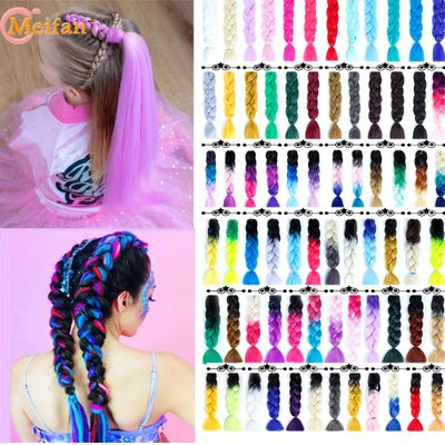 MEIFAN Synthetic Ombre Jumbo Braiding Hair Crochet Braids Hairstyles Hair Extensions Colored Strands Braids for Hair Weave