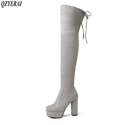 QZYERAI New round head comfortable female boots tight elastic over knee shoes European standing bootsquality qualified size34-43