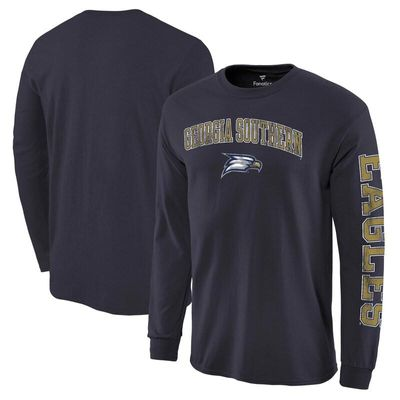Georgia Southern Eagles Fanatics Branded Distressed Arch Over Logo Long Sleeve Hit T-Shirt - Navy