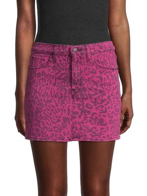 Hudson Leopard-Print Denim Mini Skirt