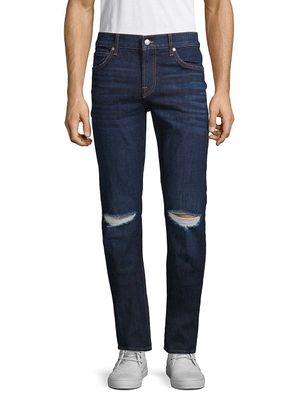7 For All Mankind Slim-Fit Distressed Jeans