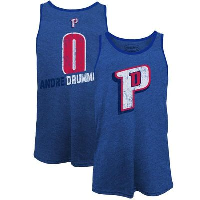 Andre Drummond Detroit Pistons Majestic Threads Name & Number Tri-Blend Tank Top - Royal