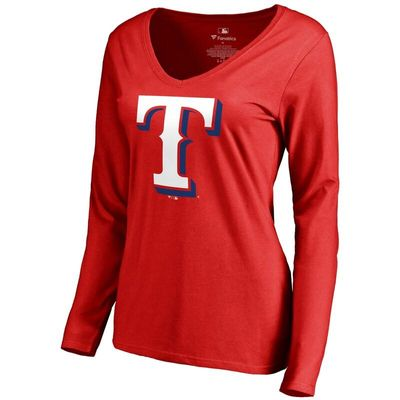 Texas Rangers Women's Secondary Color Primary Logo Long Sleeve T-Shirt - Red