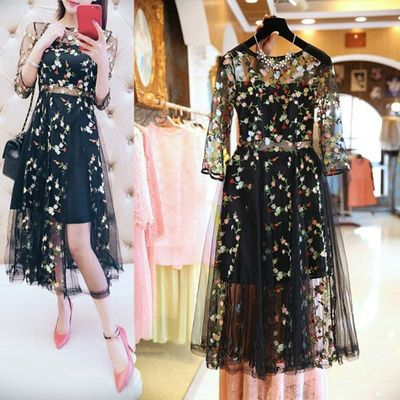 ETOSELL Boho Vintage Floral Embroidery Lace Mesh Dresses Fashion Runway Dress Casual See Through Vestidos