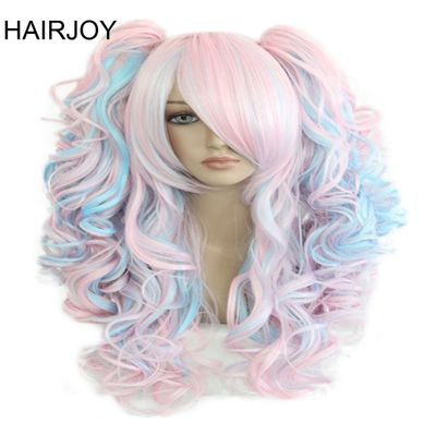 HAIRJOY Women 70cm Long Blue Mixed Pink Wavy Braided 2 Ponytails Synthetic Party Cosplay Wig 30 Colors Available