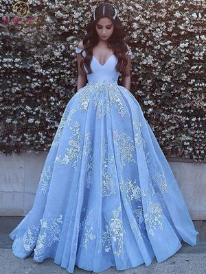 2020 New Quinceanera Dresses Light Blue V-neck Off Shoulder Floor Length Ball Gown Formal Party Ceremony Long Graduation Gowns