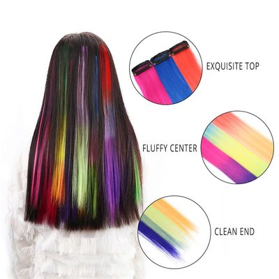20'' Synthetic Ombre Color Hair Clip In One Piece for Girls and Kids Long Straight Multiple Hairpieces Heat Resistant Fiber