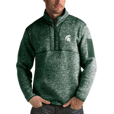 Michigan State Spartans Antigua Fortune 1/2-Zip Pullover Sweater - Heathered Green