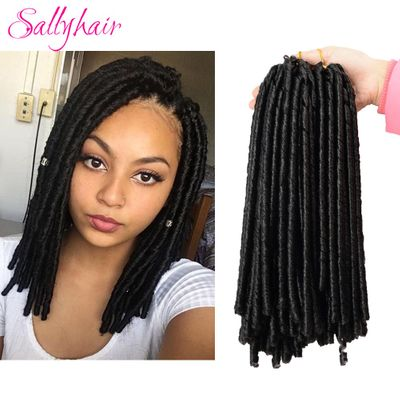 Sallyhair 14inch 90g/pack Crochet Braids Synthetic Braiding Hair Extension Afro Hairstyles Soft Faux Locs Brown Black Thick Full