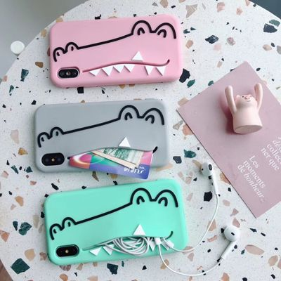 Cute cartoon 3D crocodile Card package phone case For iPhone SE Xs MAX Xr X 7 8 6s plus Card Slots Wallet Silicone soft Cover