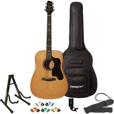 Sawtooth Acoustic Guitar with Padded Case, Tuner, Stand, Strap, Picks, and Free Music Lesson - Dreadnought Folk Guitar with Black Pickguard
