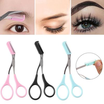 1PC Stainless Steel Eyebrow Trimmer Scissors With Comb Hair Grooming Shaping Shaver Eyelash Hair Clips Hair Remover Makeup Tools