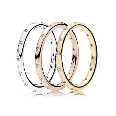 3 Color Silver Color Ring Diy Rose Gold With Crystal Surround Fashion Rings For Women Wedding Jewelry Gift