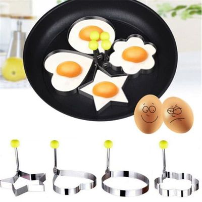 Stainless steel form for frying eggs tools Flower, Heart, Circle, Sta omelette mould device egg/pancake ring egg shaped kitchen
