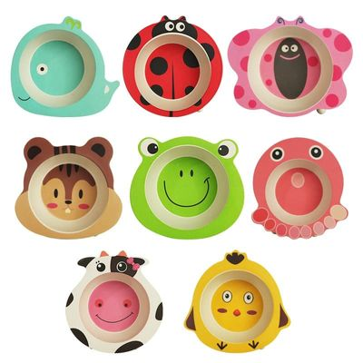 Environmental Natural Bamboo Fiber Child Bowl Baby Tableware Animals Shape Dinner Tableware Christmas Gift Non-slip Dinnerware