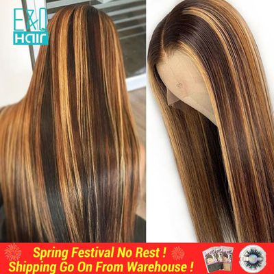 13x6 Lace Front Human Hair Wigs Straight Highlight Honey Blonde 360 Lace Frontal Wig Pre Plucked Brazilian Remy For Women 150%