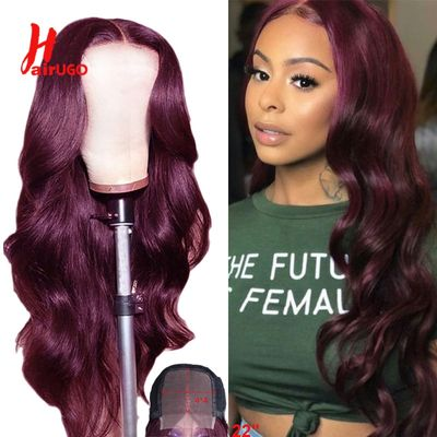 Ombre Red Body Wave 4x4 Lace Closure Human Hair Wig Pre-plucked Malaysian Remy Burgundy Blonde Wigs For Black Women 150% HairUGo