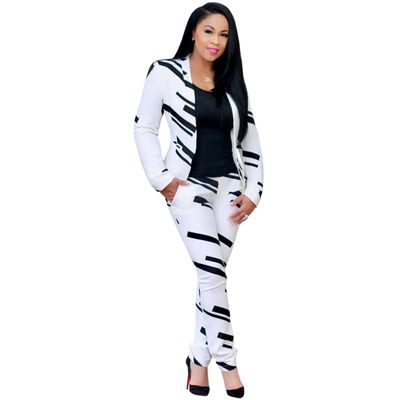 Women Fashion White and Black Pant Suits 2019 Autumn Winter Office Lady Business Formal Party Matching