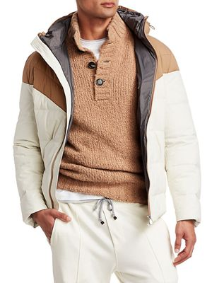 Brunello Cucinelli Spa Two-Tone Nylon Hooded Puffer Jacket
