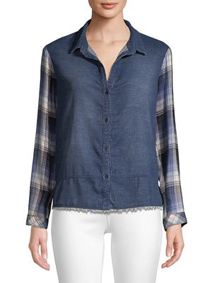 Bella Dahl Denim & Plaid Patchwork Shirt