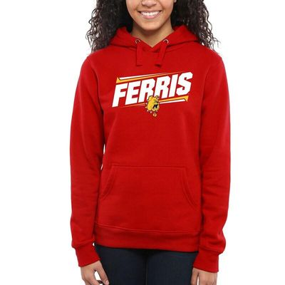 Ferris State Bulldogs Women's Double Bar Pullover Hoodie - Red