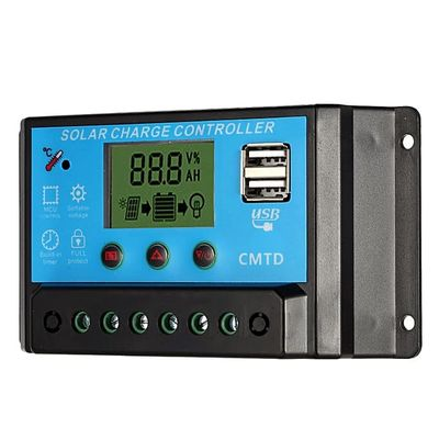 20A 12.6V LCD Solar Charge Controller PWM Charging Regulator For Solar Battery Panel Lithium Battery Lamp Overload Protection(20A)
