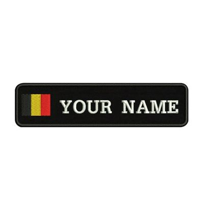Belgian flag Belgium 10X2.5cm Embroidery Custom Name Text Patch Stripes badge Iron On Or Velcro Backing Patches For Clothes