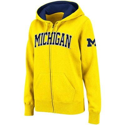 Michigan Wolverines Stadium Athletic Women's Arched Name Full-Zip Hoodie - Gold
