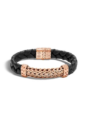 John Hardy Classic Chain Braided Leather Wide Station Bracelet