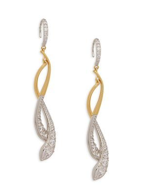 Adriana Orsini Rhodium-Plated & Goldplated Sterling Silver & Crystal Drop Earrings