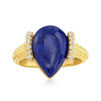 Ross-Simons Lapis and Diamond Ring in 18kt Gold Over Sterling