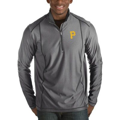 Pittsburgh Pirates Antigua Tempo Half-Zip Pullover Jacket - Heathered Charcoal
