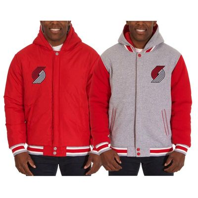 Portland Trail Blazers JH Design Two-Tone Reversible Fleece Hooded Jacket - Red/Gray