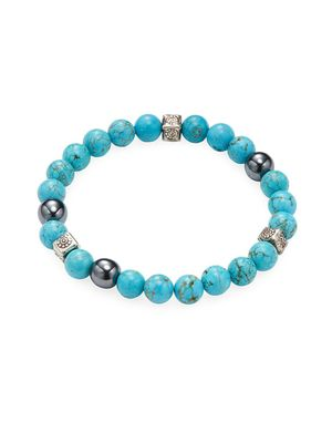 Jean Claude Turquoise, Hematite and Sterling Silver Beaded Bracelet