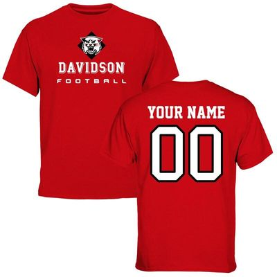 Davidson Wildcats Personalized Football T-Shirt - Red