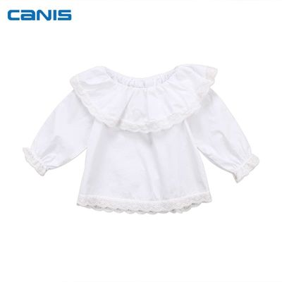 Newborn Infant Toddler Baby Girls Lace Collar Long Sleeve Off Shoulder Long Sleeve Tops T-shirt Clothes 0-2T