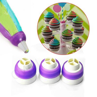 New 3-Color Icing Piping Bag Russian Nozzle Converter Coupler Cake Cream Pastry Bag Nozzle Adapter For Cupcake Fondant Cookie