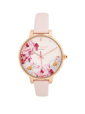 Ted Baker London Floral Dial Leather Strap Watch