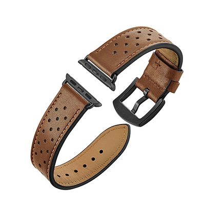 Perforated Leather Watch Band Strap With Black Buckle-Brown