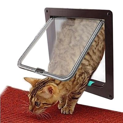 Household Cat Flap Door with 4 Way Lock Security Flap Door for Dog Cat Kitten Small Pet Gate Door Kit Cat Door