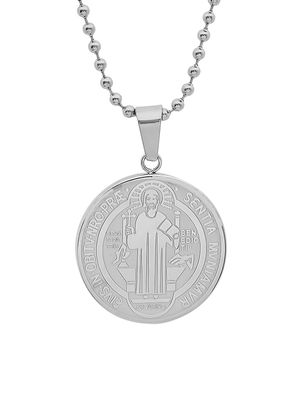 Anthony Jacobs Stainless Steel Religious Coin Pendant Necklace