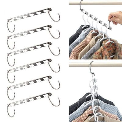 1/2/6/8pcs Stainless Steel Pants Rack Skirt Trouser Clip Stand Adjustable Pinch Grip Clothes Save Space Organizer Clothes Hanger