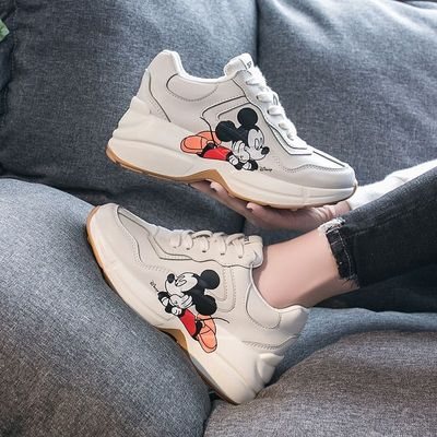 Daddy shoes women 2020 spring new fashion wild thick bottom increased casual Mickey print sneakers