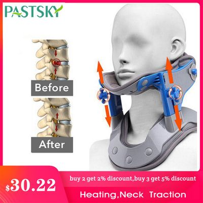 Adjustable Heating Cervical Traction Medical Neck Spine Stretching Collar Electric Correction Massager Support Brace Pain Relief