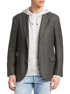 Brunello Cucinelli Single-Breasted Wool Plaid Sportcoat