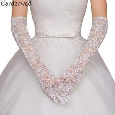 Gardenwed Women Bridal Gloves Elbow Length Full Finger Lace Wedding Accessories Evening Party
