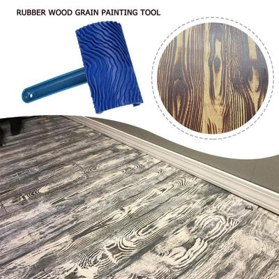 Blue Rubber Wood Grain Paint Roller DIY Graining Painting Tool with Handle Clear Wood Grain & Delicate Effect Painting Tools