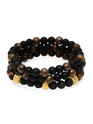 Anthony Jacobs 3-Piece 18K Goldplated Stainless Steel Beaded Bracelet Set